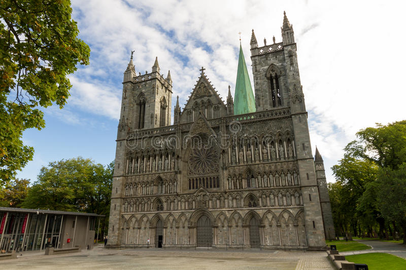 Nidaros cathedral of Trondheim. The northernmost medieval cathedral in the world, Norway stock photography