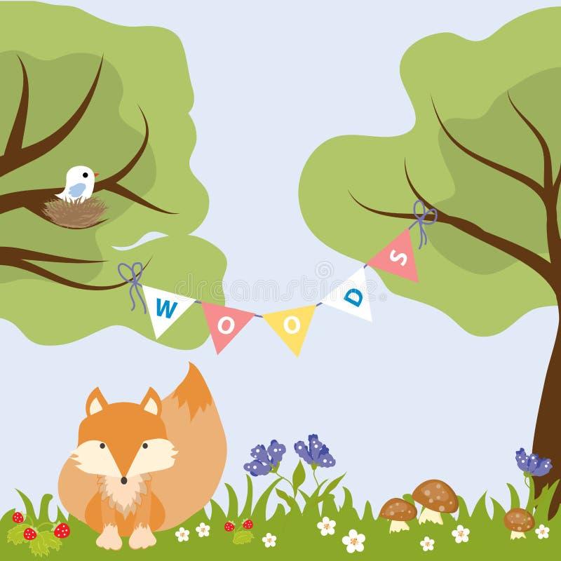 Nido Colourful dell'uccello di Fox di progettazione del bambino del fiore dell'albero fotografia stock libera da diritti
