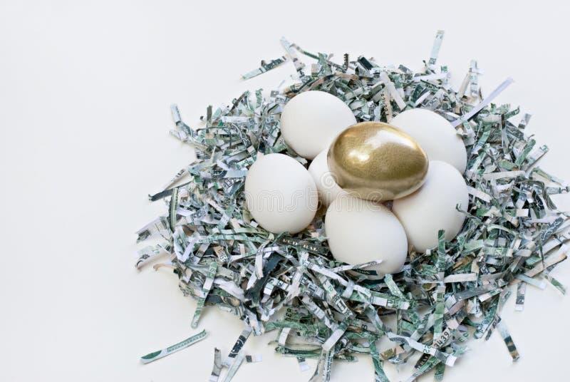 Nido dei soldi con l'uovo dorato fotografia stock libera da diritti