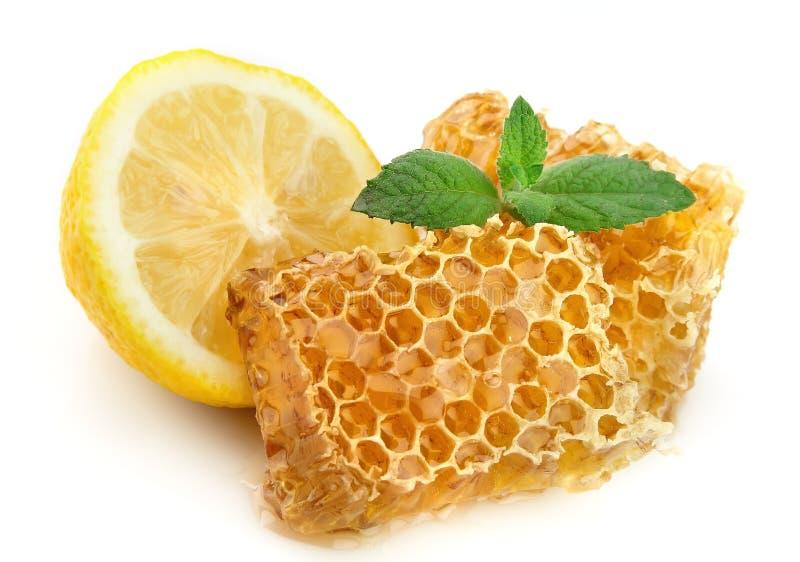 Nids d'abeilles de miel avec le citron photographie stock libre de droits