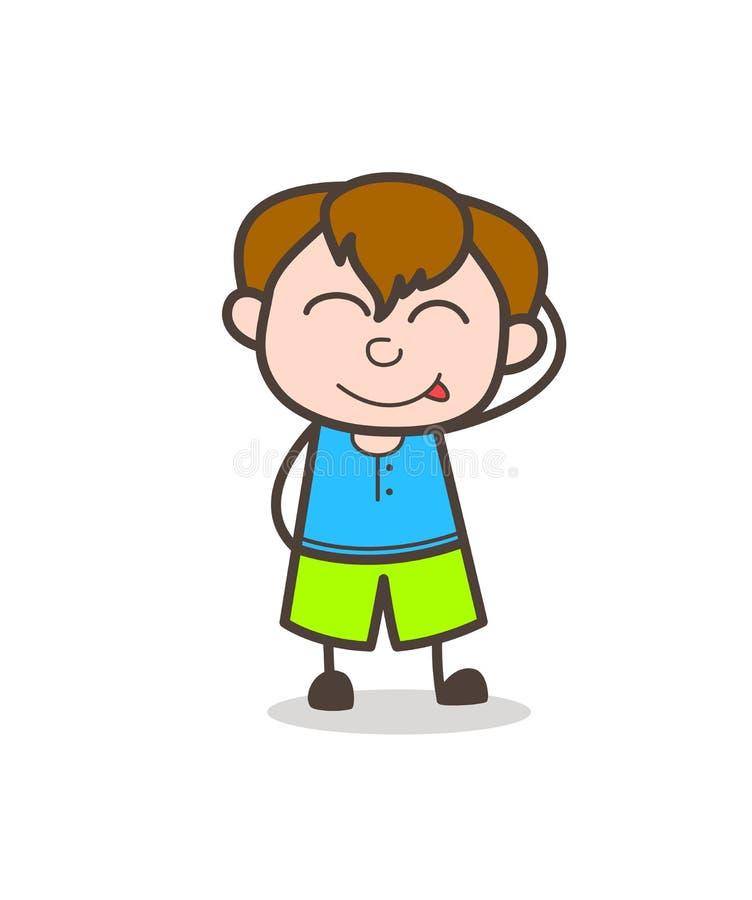 Nieśmiała dzieciak twarz Delektuje się Wyśmienicie jedzenie - Śliczna kreskówki chłopiec ilustracja ilustracja wektor