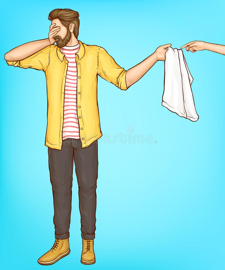 Nieśmiała mężczyzna pokrywa ono przygląda się z ręką daje ręcznikowi kobieta royalty ilustracja