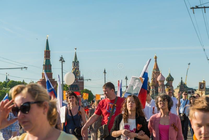 Nieśmiertelny pułk w Moskwa zdjęcia stock