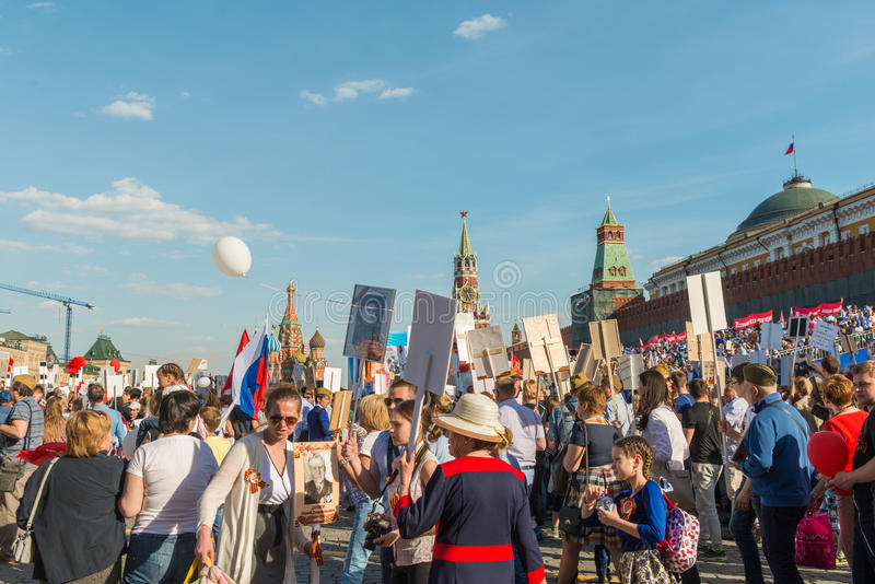 Nieśmiertelny pułk w Moskwa zdjęcie stock