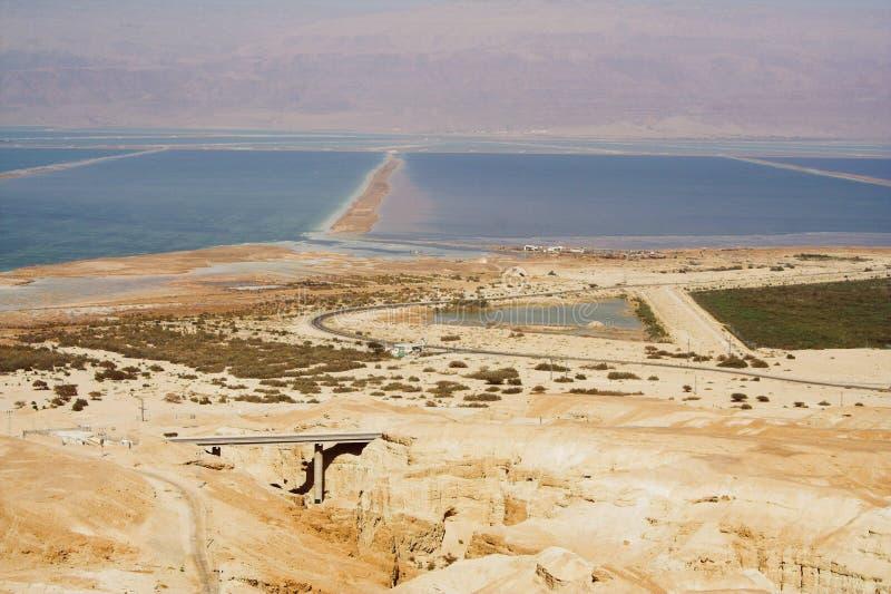Nieżywego morza widok antyczny miasto Masada zdjęcia stock