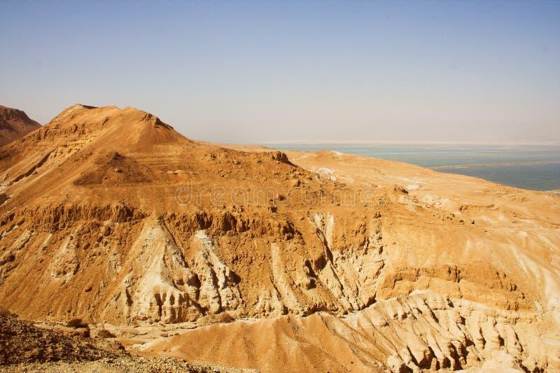 Nieżywego morza widok antyczny miasto Masada obrazy stock