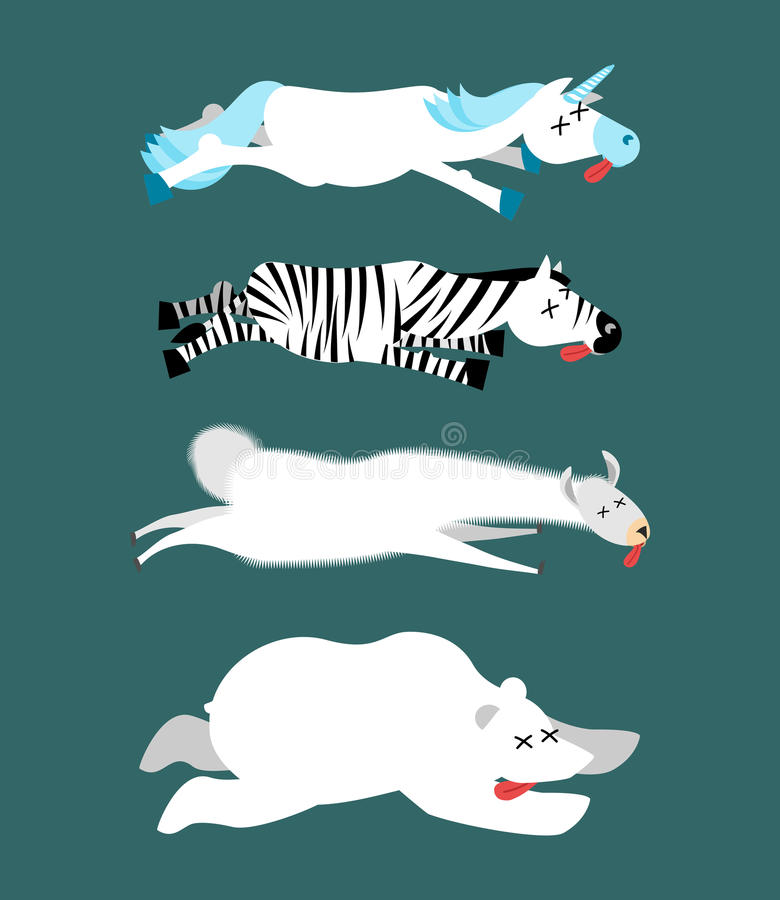 Nieżywi zwierzęta ustawiają 1 Jednorożec i zebra Lama i niedźwiedź polarny Ani ilustracji