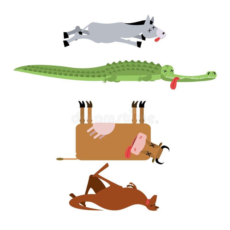 Nieżywi zwierzęta ustawiają 3 Osioł i krokodyl Krowa i kangur Anim royalty ilustracja