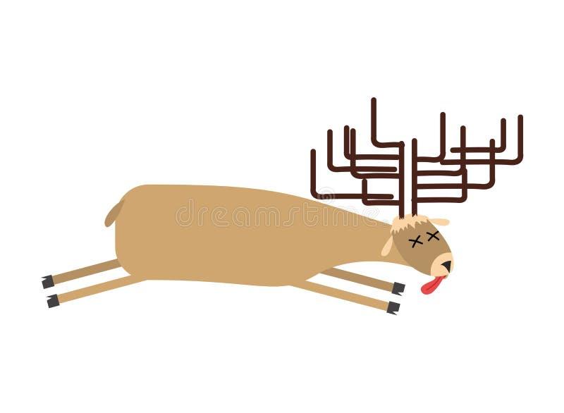 Nieżywy łoś amerykański Rogacz jest nieżywy Zwłoki dzika bestia ilustracji
