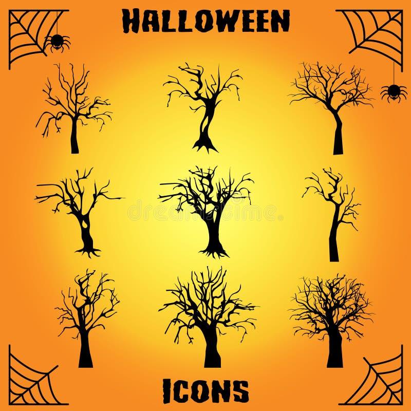 Nieżywy drzewny ikona set ilustracji