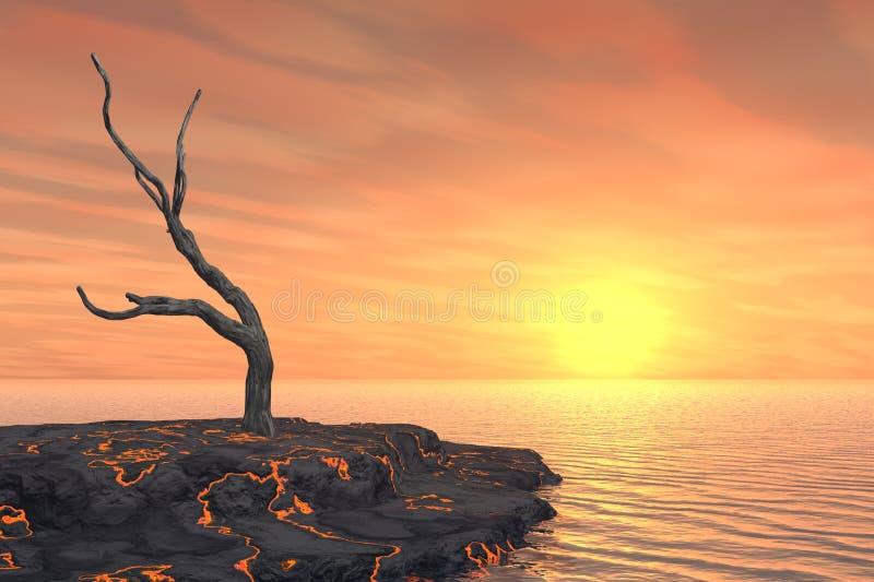 nieżywy gorący wyspy lawy drzewo ilustracji