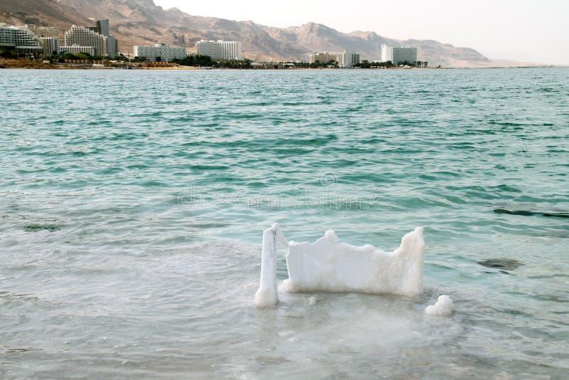 Nieżywy morze, jest słonym jeziorem graniczy Jordania północ, i Izrael zachód Swój brzeg i powierzchnia jest 430 5 metres 1.412 f zdjęcia royalty free