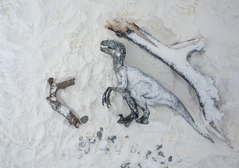 Nieżywy velociraptor w śnieg podczas wygaśnięcie ery zdjęcie royalty free