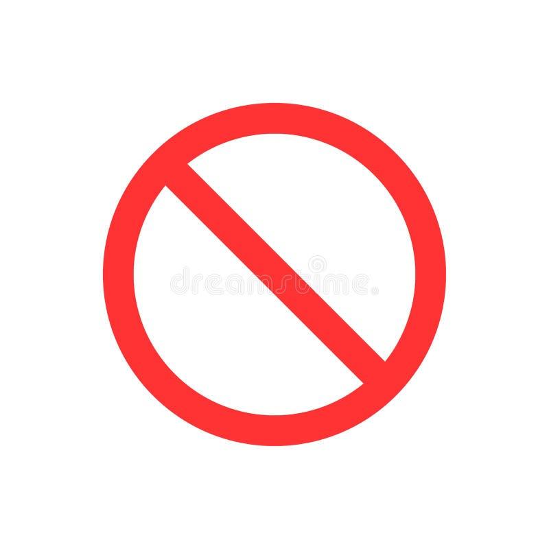Nie, żadny wejście, żadny znak, szyldowa ikona Płaska wektorowa ilustracja CZERWONY okrąg ilustracji