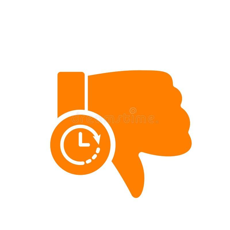 Nie lubić ikonę, gest ikona z zegaru znakiem Nie lubić ikonę i odliczanie, ostateczny termin, rozkład, planistyczny symbol royalty ilustracja