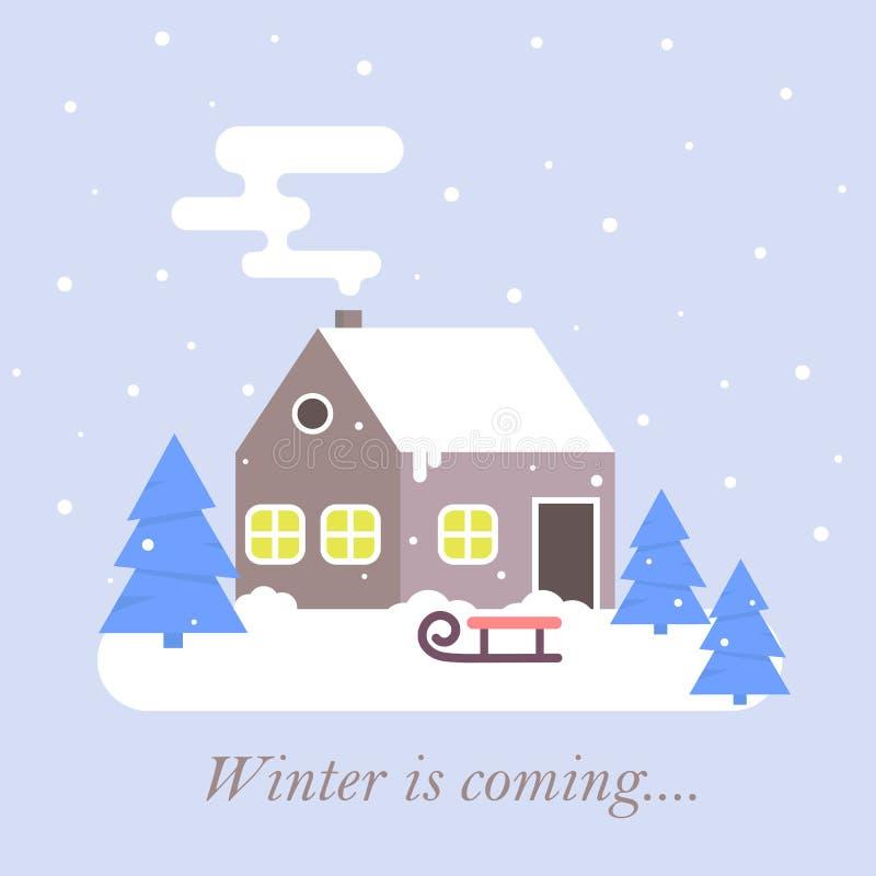 ?nie?na scena z rolnym zima domem z dymienie kominem na wiejskim tle Kresk?wka domu krajobrazu ?nieg nakrywaj?cy sztandar ilustracja wektor