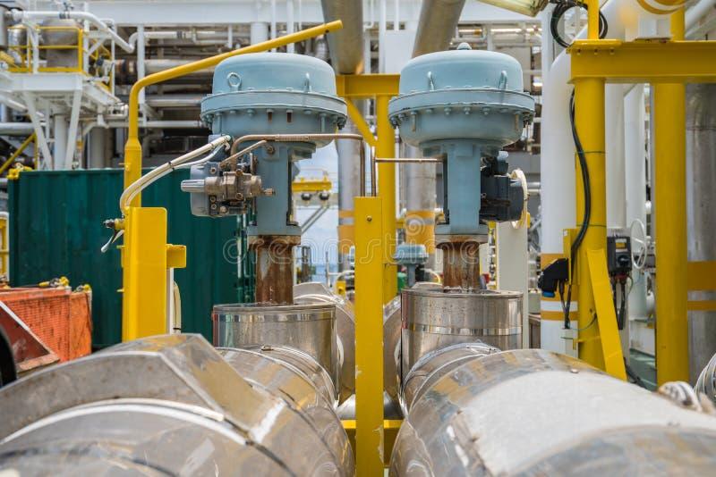 Nie udać się zamykać typ pobudzająca kontrolna klapa w ropa i gaz środkowej przerobowej platformie obrazy stock