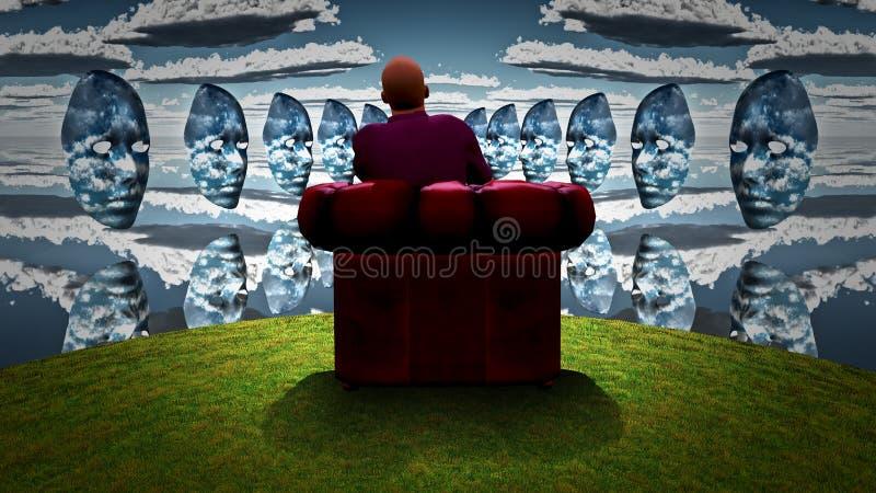 Nieba Theatre Mężczyzna siedzi w czerwonym karle ilustracji