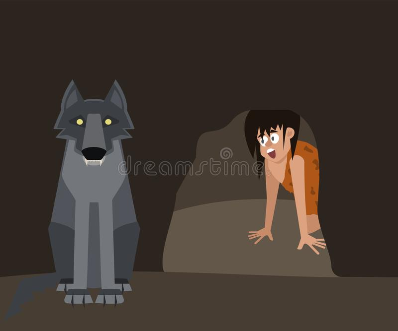 Niebezpieczeństwa caveman życia wektoru kreskówka ilustracja wektor