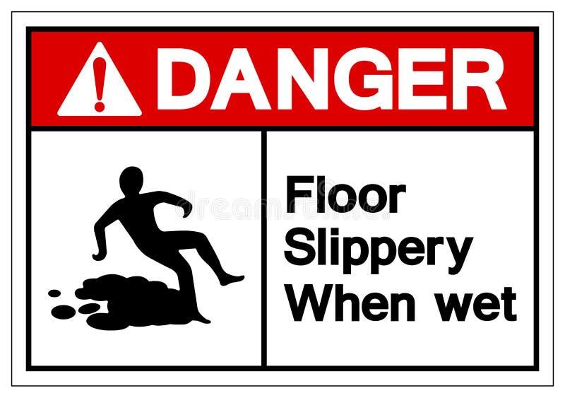 Niebezpieczeństwa Podłogowy Śliski Gdy Mokry symbolu znak, Wektorowa ilustracja, Odizolowywa Na Białej tło etykietce EPS10 ilustracji