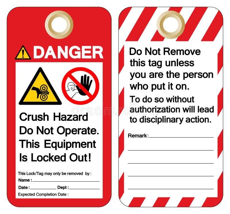 Niebezpieczeństwa przyduszenia zagrożenie no działa ten wyposażenia blokuje za symbolu znaku, Wektorowa ilustracja, Odizolowywa N royalty ilustracja