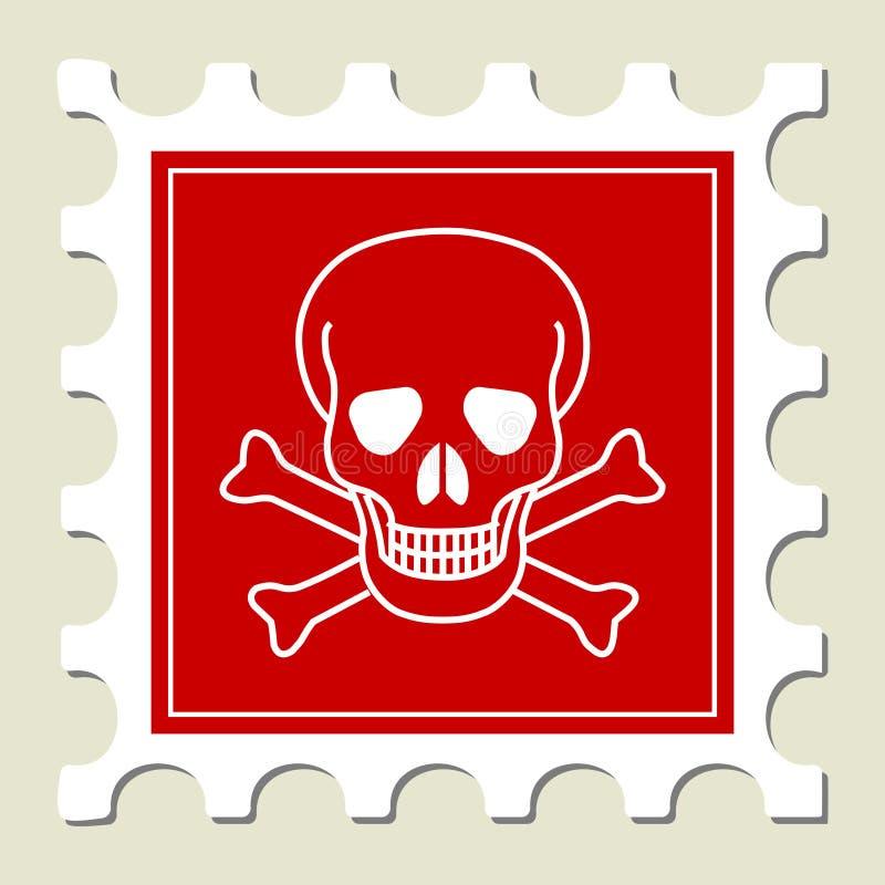 niebezpieczeństwa szyldowy czaszki znaczek royalty ilustracja