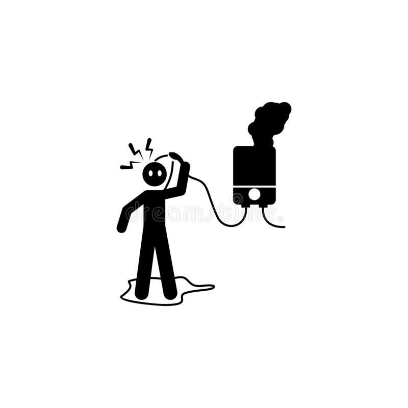 niebezpieczeństwo, elektryczna, wodna ikona, Element ludzka niebezpieczeństwo znaka ikona dla mobilnych pojęcia i sieci apps Szcz royalty ilustracja
