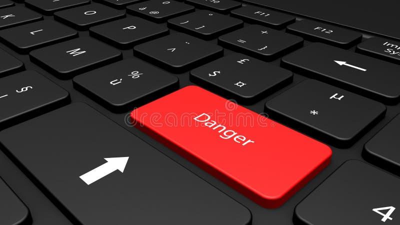 Niebezpieczeństwo informacja na klawiaturze ilustracja wektor