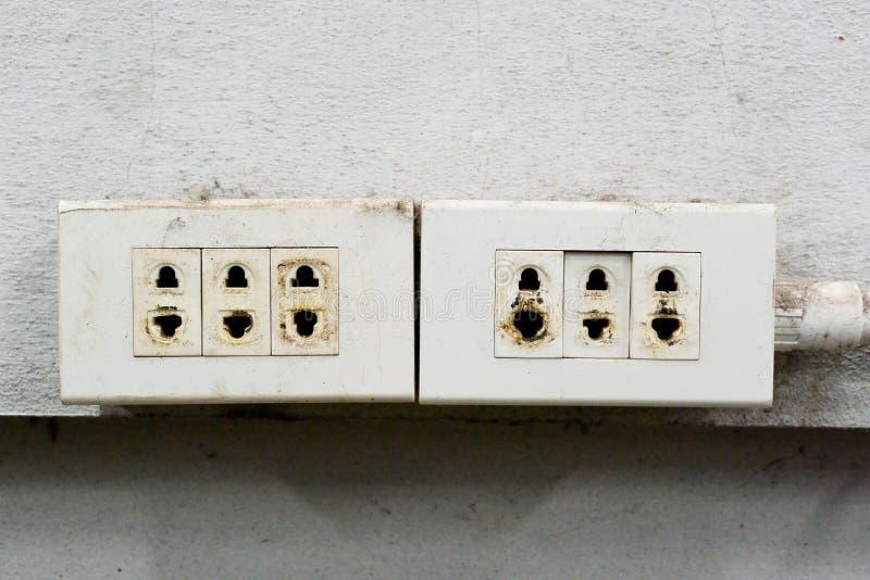 Niebezpieczeństwo! Jest świadomy elektryczny krótki! obraz royalty free