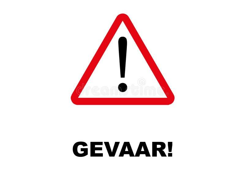 Niebezpieczeństwo kierunkowskaz pisać w Afrikaans i holendera języku royalty ilustracja