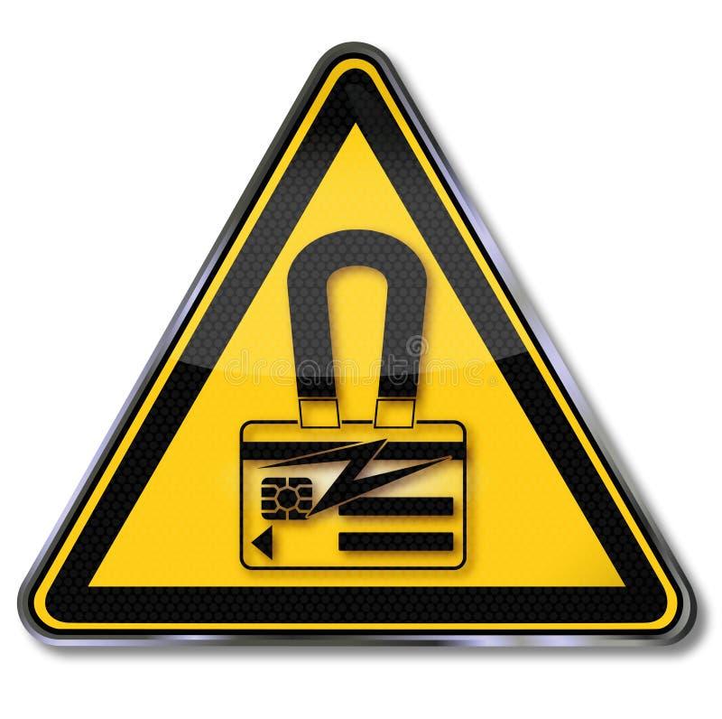Niebezpieczeństwo magnesowy ładunek i smart card ilustracja wektor