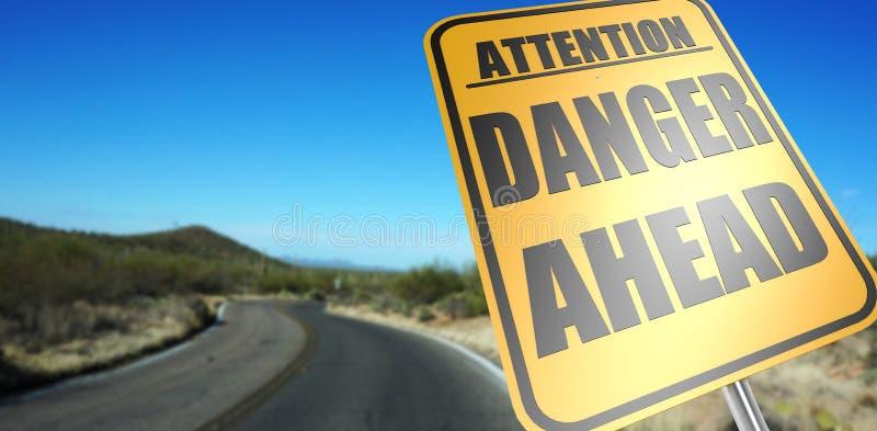 Niebezpieczeństwo naprzód drogowy znak zdjęcia stock