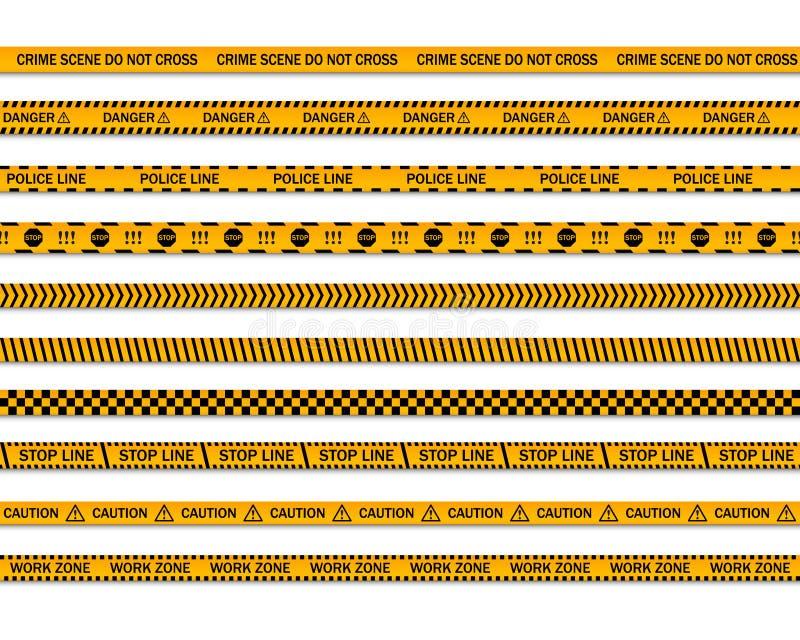 Niebezpieczeństwo ostrożności bezszwowe taśmy Miejsce przestępstwa no krzyżuje żółtej milicyjnej linii Pracy strefy lampas ilustracja wektor