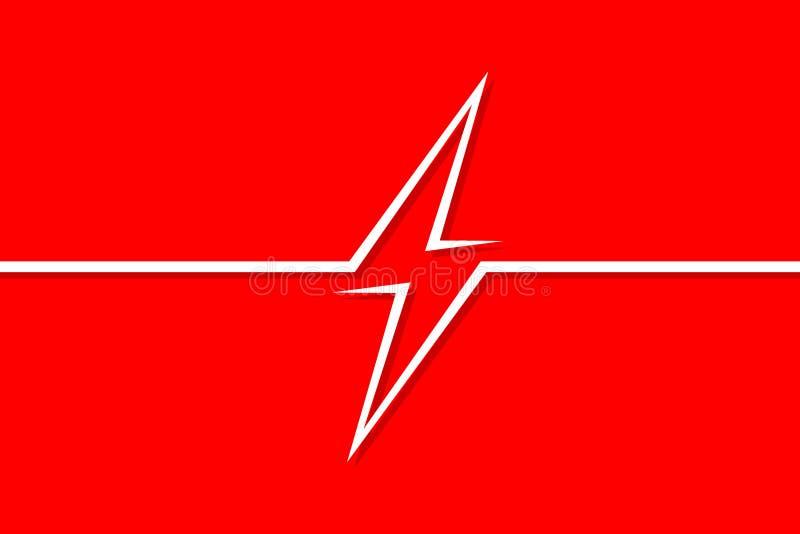 Niebezpieczeństwo oznacza elektryczność na czerwonym tle w stylu grafiki liniowej royalty ilustracja