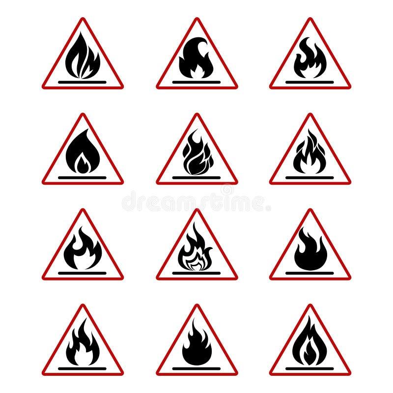 Niebezpieczeństwo pożarnicze ikony z płomieniem odizolowywającym na bielu royalty ilustracja