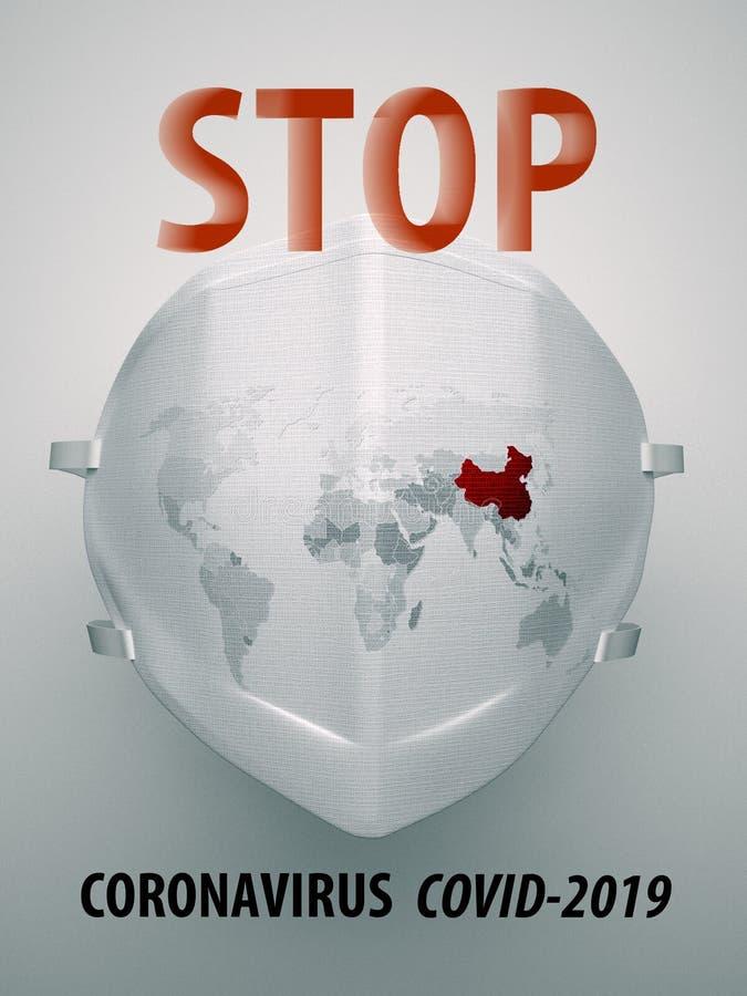 Niebezpieczeństwo rozprzestrzeniania się Coronavirus Covid 2019 Mapa świata jest narysowana na masce respiratora obraz royalty free