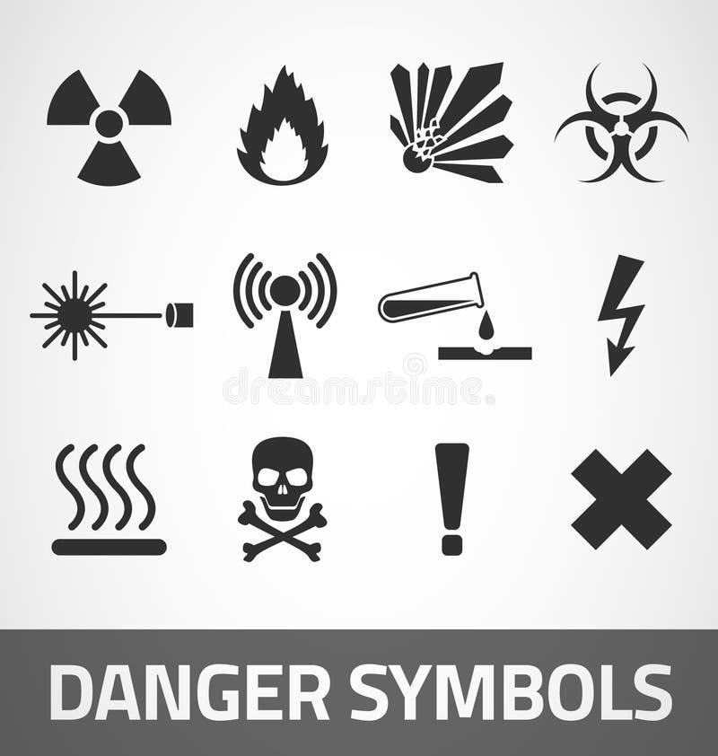 Niebezpieczeństwo symbole royalty ilustracja