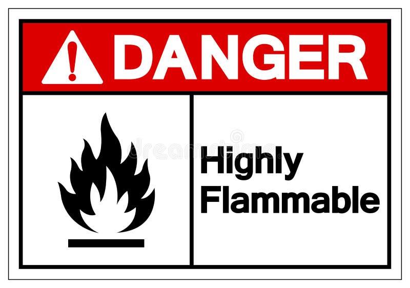 Niebezpieczeństwo symbolu Wysoce Flammable znak, Wektorowa ilustracja, Odizolowywa Na Białej tło etykietce EPS10 ilustracji