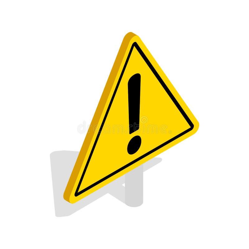 Niebezpieczeństwo znaka ostrzegawczego ikona, isometric 3d styl royalty ilustracja