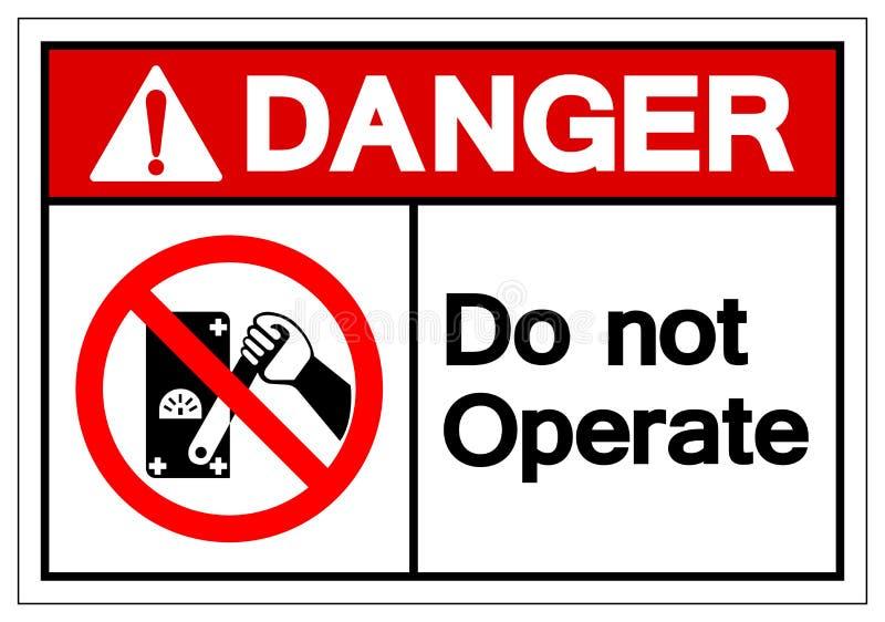 Niebezpiecze?stwo no Dzia?a symbolu znaka, Wektorowa ilustracja, Odizolowywaj?ca Na Bia?ej t?o etykietce EPS10 royalty ilustracja