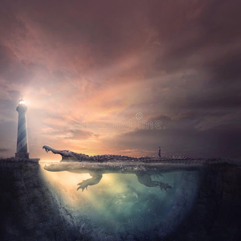 Niebezpieczna droga do latarni morskiej zdjęcia royalty free