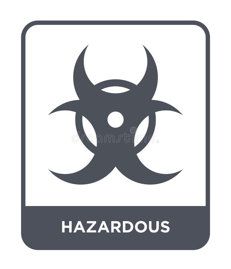 niebezpieczna ikona w modnym projekta stylu niebezpieczna ikona odizolowywająca na białym tle niebezpiecznej wektorowej ikony pro royalty ilustracja