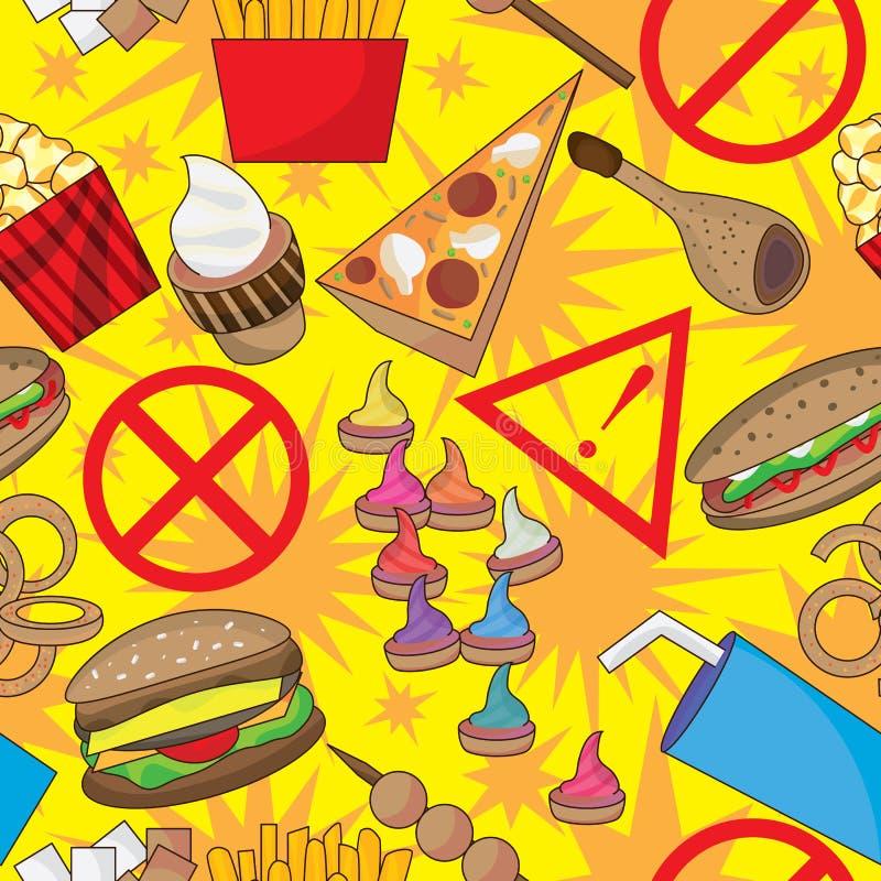 Niebezpiecznego Fasta Food Bezszwowy Wzór ilustracja wektor