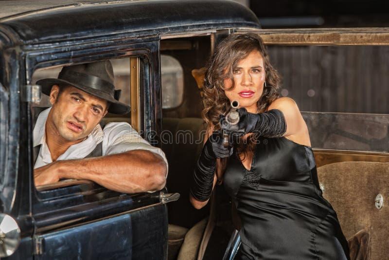 Niebezpieczni 1920s rocznika gangstery fotografia stock