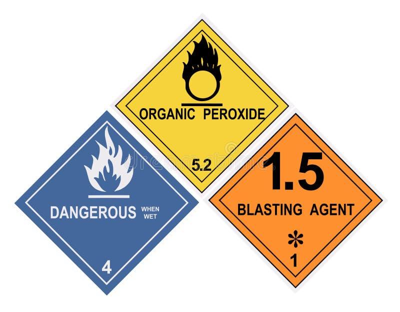 niebezpieczny etykietek materiału ostrzeżenie royalty ilustracja