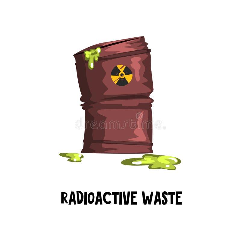 Niebezpieczny odpad radioaktywny Ośniedziała baryłka z zielonym toksycznym cieczem Ochrona środowiska temat Płaski wektor dla ilustracji