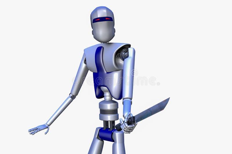 Niebezpieczny robot z nożem w jego ręce ilustracji