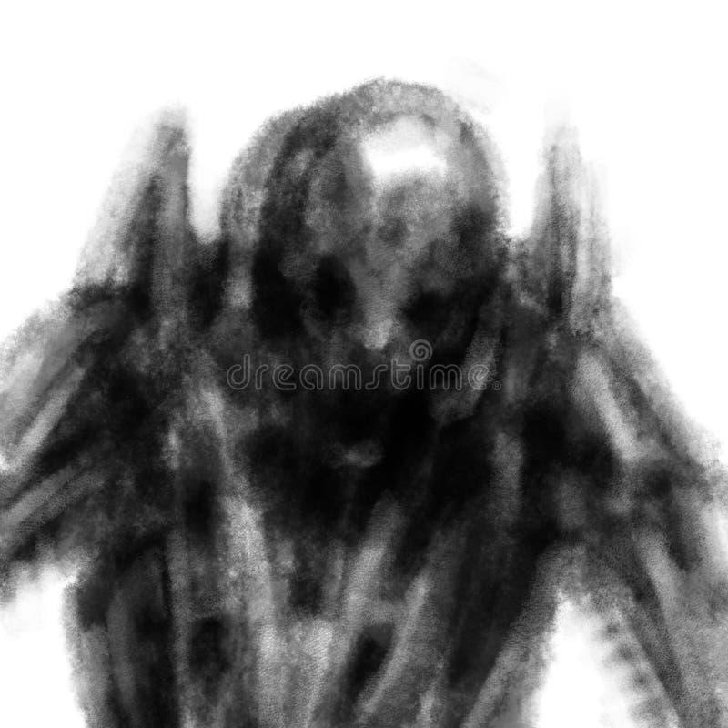 Niebezpieczny szkic obcy Czarno-biały ilustracja wektor