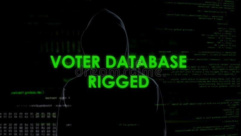 Niebezpieczny szpieg otaklował wyborca bazę danych, błędna informacja, wybory niepowodzenie obraz stock