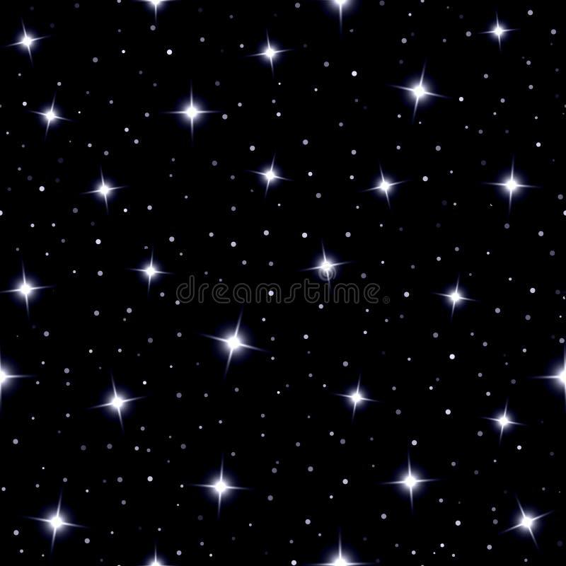 Niebiański bezszwowy tło z lśnienie gwiazdami royalty ilustracja